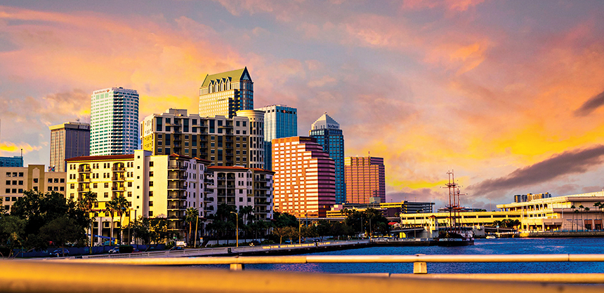 Tampa's selection of accommodations ranges from lavish hotels to four-diamond resorts. The 2.4-mile Tampa Riverwalk links downtown attractions one after the other.