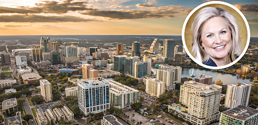 Orlando, long a top destination, is looking forward to a robust second half of the year. Inset, new CVB leader Cassandra Matej has a solid vision of how to lead the bureau out of the pandemic. Photos Courtesy of Visit Orlando