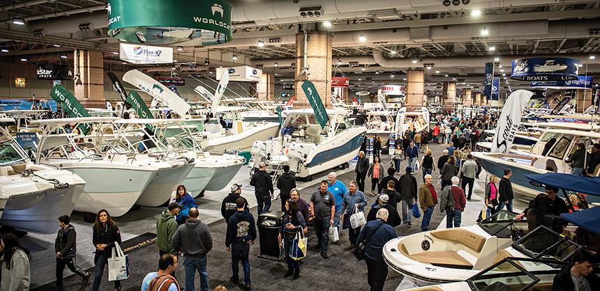 Attendees enjoy the popular Atlantic City Boat Show, held in February 2020 immediately prior to the nationwide COVID-19 lockdowns. Courtesy of Jon Pritko