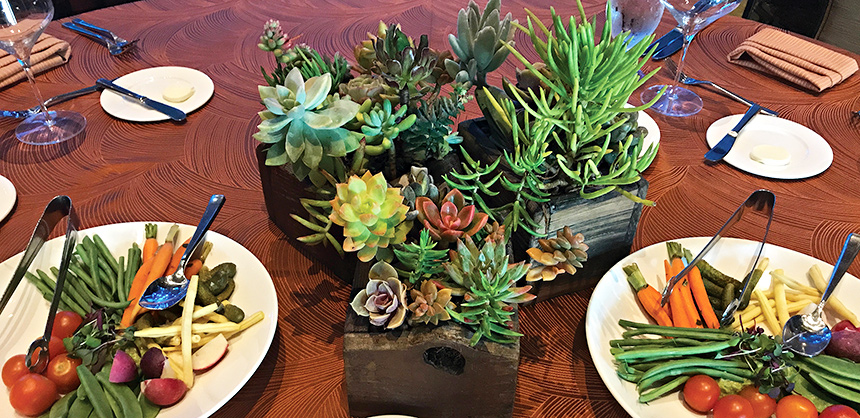 One quick sustainability trick: Use centerpieces made from live plants, pictured. Sustainability initiatives are growing in popularity in the meetings and events industry.