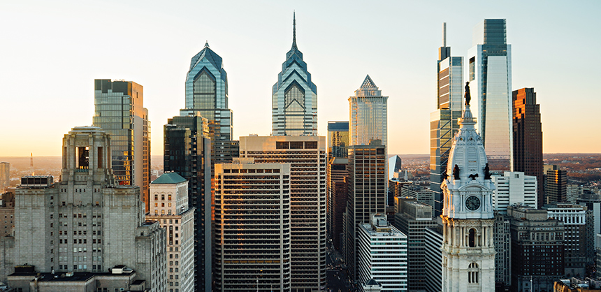 The Philadelphia skyline. Philadelphia has recently been highlighted by TIME magazine, naming the city as one of the World's Greatest Places in 2021.