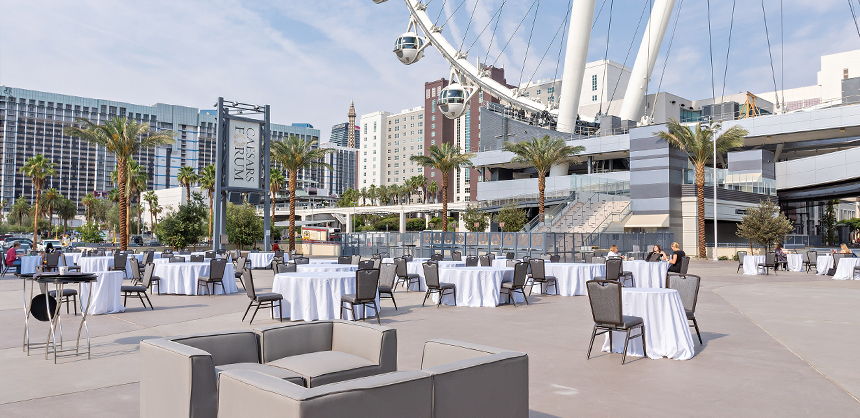 The outdoor plaza at CAESARS FORUM.